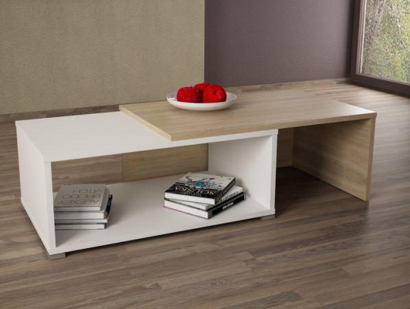 Konferenční rozkládací stolek DRON, dub sonoma-bílá