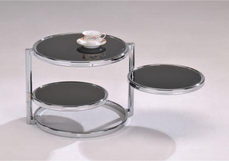 Konferenční stolek, chrom/černé sklo, MOIRA