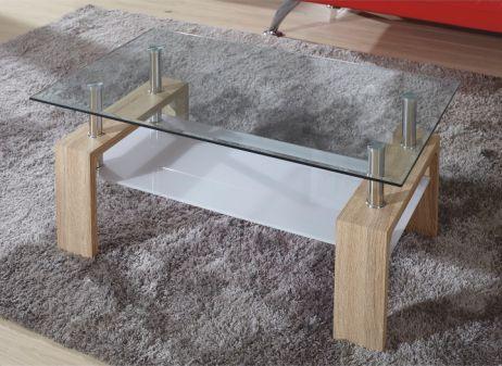 Konferenční stolek, sklo/dub sonoma, LIBOR
