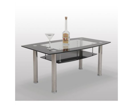 Konferenční stolek, sklo/ocel, BASEL - ERVIN