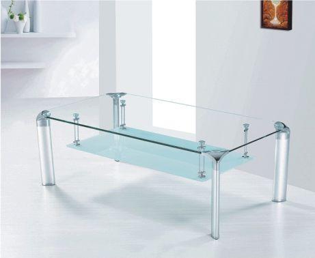 Konferenční stolek, sklo/stříbrný, RICKY