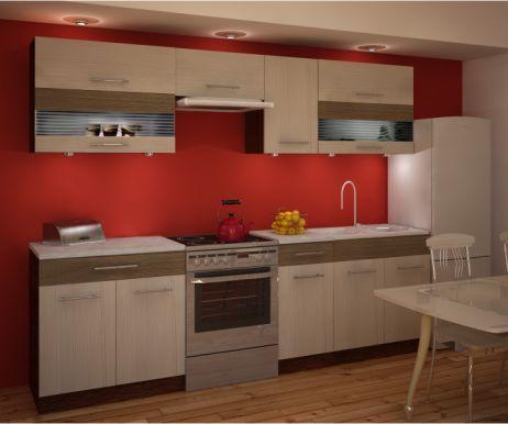 Kuchyňská linka, rigoleto light/dark/sklo, JURA NEW IA ZS 2.6m