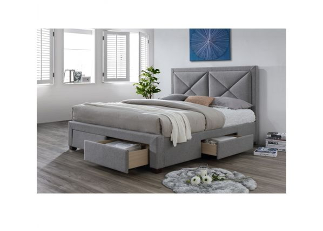 Luxusní postel s úložným prostorem XADRA, 180x200 cm, látka šedý melír