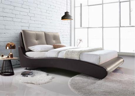 Manželská postel, s roštem, ekokůže hnědá / capuccino, 160x200, ARGOS