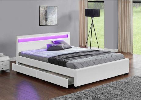 Manželská postel s úložným prostorem CLARETA 180x200 cm, RGB LED osvětlení, bílá ekokůže