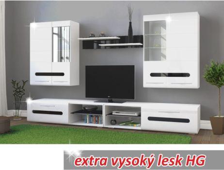Obývací sestava, bílá vysoký lesk / černá vysoký lesk HG, Owal