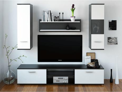 Obývací stěna WAW, černá / bílá