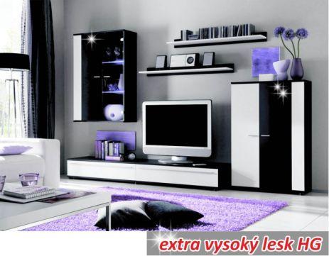 Obývací stěna, s osvětlením, bílá/černá extra vysoký lesk HG, CANES