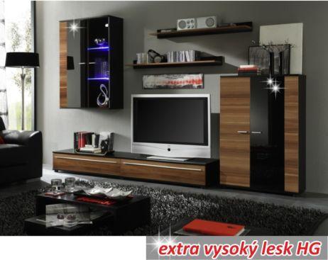 Obývací stěna, s osvětlením, švestka/černá extra vysoký lesk HG, CANES