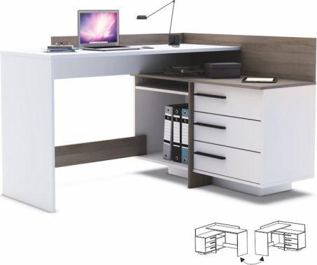 Rohový PC stůl TALE, tmavý dub/bílá
