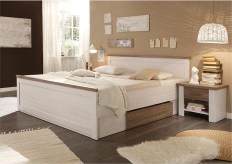 Dvoulůžková postel s nočními stolky LUMERA, pinie bílá / dub sonoma truflový
