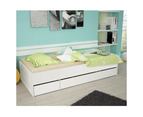 c89be2c3379c4 Postel s úložným prostorem MATIASI, 90x200, bílá / bílá | Nábytek za ...