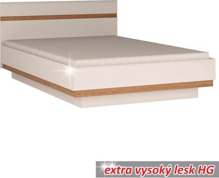 Postel, bílá extra vysoký lesk HG/dub sonoma tmavý, LYNATET TYP 93