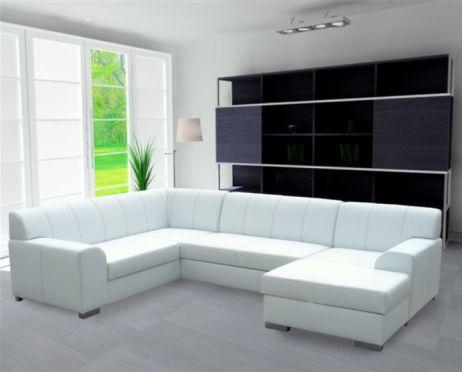 Rohová sedací souprava, P, ekokůže bílá/šedé prošití, BAZIL U