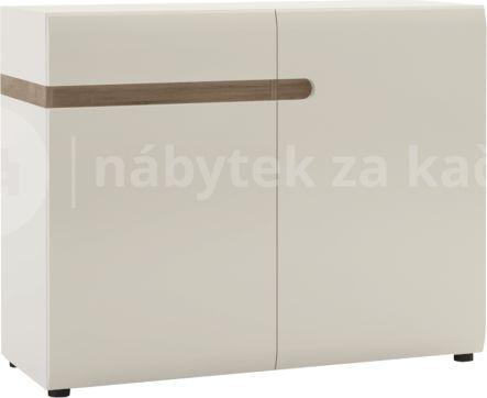 Komoda, 2 dveřová, bílá extra vysoký lesk HG/dub sonoma tmavý truflový, LYNATET TYP 35