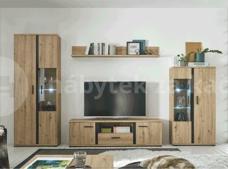 Obývací stěna, dub artisan / černá, KANODE