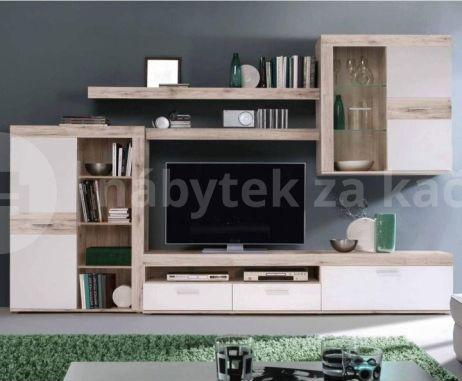 Obývací stěna VALERIA, dub písková / bílá